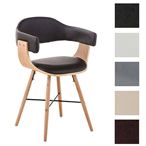 CLP Besucherstuhl BARRIE V2, natura, mit Armlehne, Sitzfläche gut gepolstert, Holzgestell, modern Braun