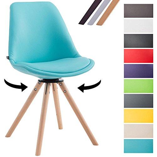 CLP Besucherstuhl CALAIS mit Kunstlederbezug und Buchenholzgestell | Drehbarer Lehnstuhl mit runden Holzbeinen | In verschiedenen Farben erhältlich Blau, Gestellfarbe: Natura