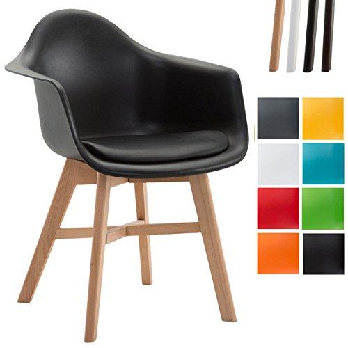 CLP Besucherstuhl CALGARY mit hochwertig gepolsterter Kunststoffsitz-Schale   Pflegeleichter Schalenstuhl mit Buchenholz-Gestell   In verschiedenen Farben erhältlich Schwarz, Gestellfarbe: Natura