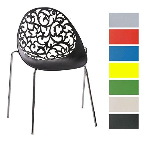 CLP Design Retro Stapelstuhl FAITH aus Kunststoff mit stabilem Metallgestell | Platzsparender Stuhl mit pflegeleichter Sitzfläche und einer Sitzhöhe von 45 cm Schwarz
