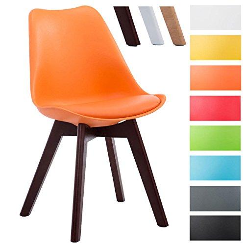 CLP Design Retro-Stuhl BORNEO V2 mit Kunstlederbezug und hochwertiger Polsterung   Lehnstuhl mit Holzgestell   Besonders pflegeleichter und strapazierfähiger Stuhl in verschiedenen Farben erhältlich Orange, Gestellfarbe: walnuss