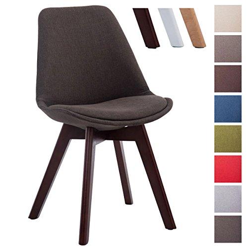 CLP Design Retro-Stuhl BORNEO V2 mit Stoffbezug und hochwertiger Polsterung   Lehnstuhl mit Holzgestell   In verschiedenen Farben erhältlich Dunkelgrau, Gestellfarbe: walnuss