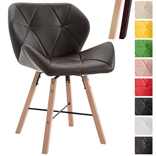 CLP Design Retro-Stuhl BRAD, Kunstleder-Sitz gepolstert, Buchenholz-Gestell, Braun, Gestellfarbe: Natura