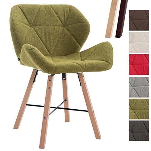 CLP Design Retro-Stuhl BRAD, Stoff-Sitz gepolstert, Buchenholz-Gestell, Grün, Gestellfarbe: Natura