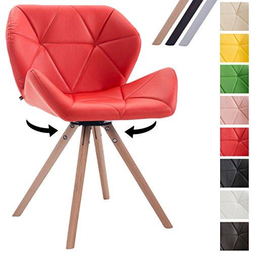 CLP Design Retro-Stuhl LUKE, Sitz drehbar, Bein-Form rund, Kunstleder-Sitz gepolstert, Buchenholz-Gestell, Rot, Gestellfarbe: Natura