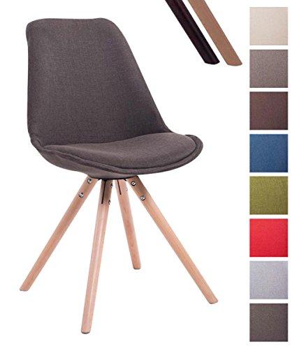 CLP Design Retro-Stuhl TOULOUSE RUND mit Stoffbezug und hochwertigem Sitzpolster | Lehnstuhl mit Holzgestell | In verschiedenen Farben erhältlich Dunkelgrau, Holzgestell Farbe natura, Bein-Form rund