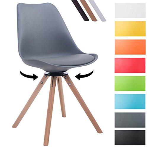 CLP Design Retro-Stuhl TROYES RUND mit Kunstlederbezug und hochwertiger Sitzfäche   360° drehbarer Stuhl mit Schalensitz und massiven Holzbeinen   In verschiedenen Farben erhältlich Grau, Holzgestell Farbe natura, Form rund