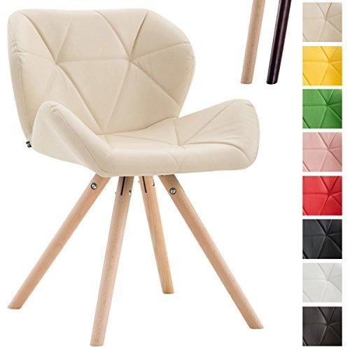 CLP Design Retrostuhl TYLER mit hochwertiger Polsterung und Kunstlederbezug | Esszimmerstuhl mit stabilem Buchenholzgestell (rund) und einer Sitzhöhe von 42 cm Creme, Gestellfarbe: Natura