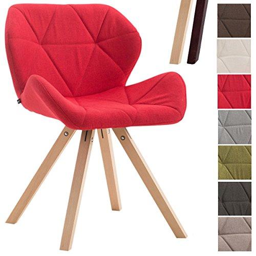 CLP Design Retrostuhl TYLER mit hochwertiger Polsterung und Stoffbezug | Esszimmerstuhl mit stabilem Buchenholzgestell (eckig) und einer Sitzhöhe von 42 cm | In vielen verschiedenen Farben erhältlich Rot, Gestellfarbe: Natura