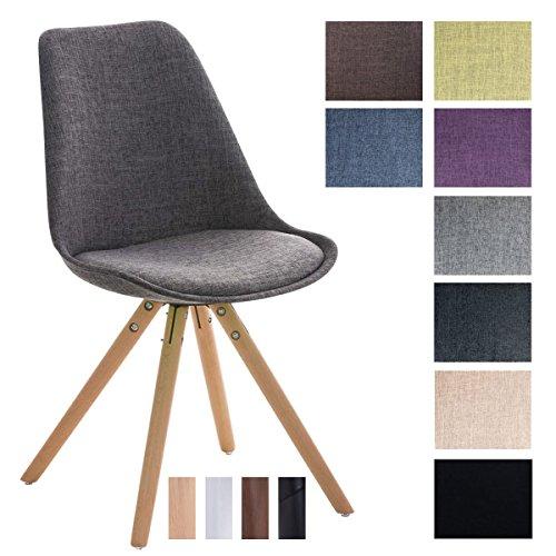CLP Design Stuhl PEGLEG mit Stoffbezug   Gepolsterter Schalenstuhl mit Holzbeinen und einer Sitzhöhe 46 cm Hellgrau, Holzgestell natura