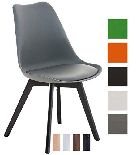 CLP Esszimmerstuhl BORNEO mit Kunststoffsitzschale und Kunstlederbezug   Polsterstuhl mit Holzgestell und einer Sitzhöhe von: 47 cm   In verschiedenen Farben erhältlich Grau, Gestellfarbe: Schwarz