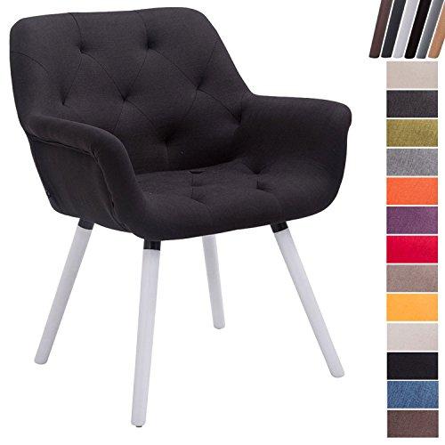 CLP Esszimmerstuhl CASSIDY mit Stoffbezug und sesselförmigem gepolstertem Sitz | Retro-Stuhl mit Armlehne und einer Sitzhöhe von 45 cm | Bis zu 150 kg belastbarer Polsterstuhl Schwarz, Gestellfarbe: Weiß (Eiche)