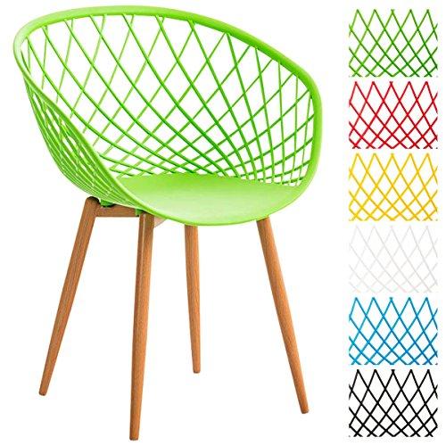 CLP Esszimmerstuhl MORA mit pflegeleichter Kunststoff-Sitzschale   Retrostuhl mit Lehne und einem Metallgestell in Holzoptik   Besucherstuhl mit Bodenschonern und einer Sitzhöhe von 46 cm Grün