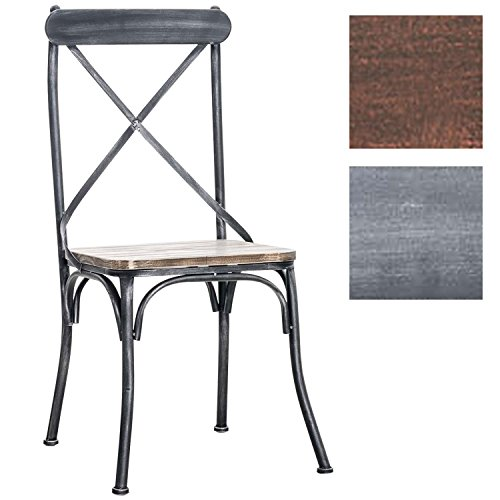 CLP Industrial Design Bistro-Stuhl BROMLEY, Materialmix aus Holz und Metall, Gastronomie geeignet antik silber