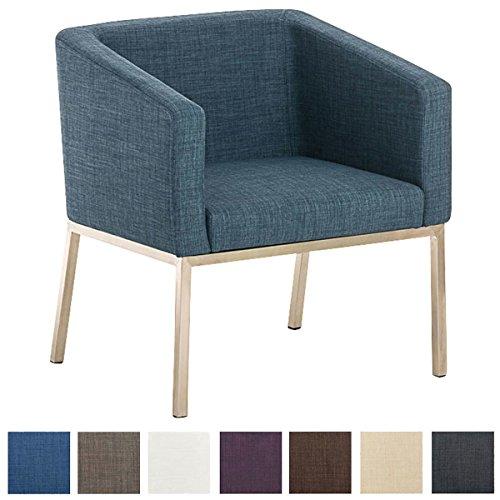 CLP Retro Edelstahl Loungesessel NALA mit Stoffbezug, gepolsterter Sessel mit Rückenlehne | Sitzhöhe 44 cm Blau