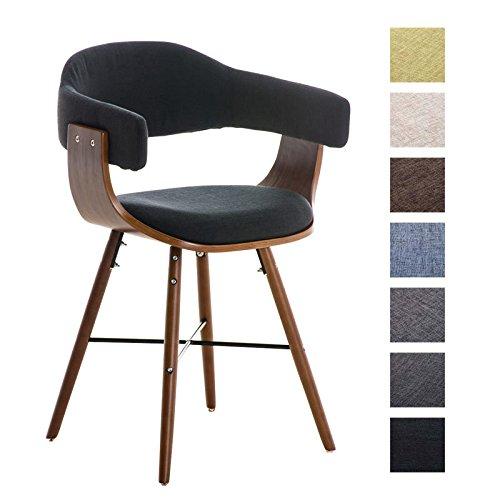 CLP Retro Esszimmer-Stuhl BARRIE V2 Stoff, Holzgestell walnuss, Gastro-Stuhl mit Armlehne, gepolstert, modern Schwarz