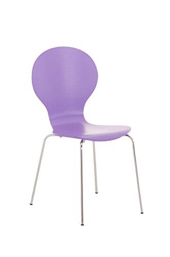 CLP Stapelstuhl DIEGO ergonomisch geformter Konferenzstuhl mit Holzsitz und stabilem Metallgestell   Platzsparender Stuhl mit pflegeleichter Sitzfläche   In verschiedenen Farben erhältlich Lila