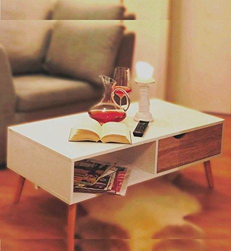 COUCHTISCH Eiche Sägerau-Optik Modern skandinavisch weiß ca. 100 x 50 cm Wohnzimmertisch TV-Tisch Beistell Tisch skandinavisches Design Buche Massivholz Beine ~ds2