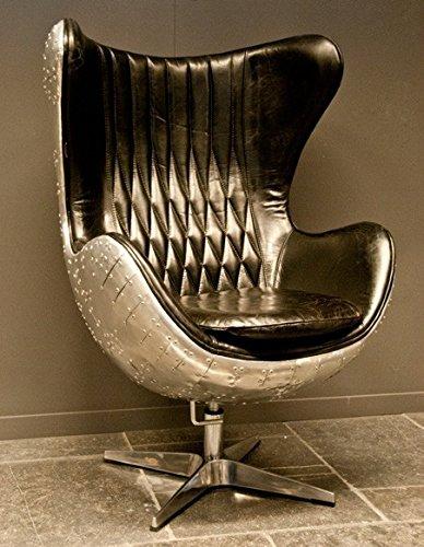 Casa Padrino Art Deco Egg Chair Drehstuhl Sessel Aluminium/Echt Leder Schwarz - Club Sessel - Lounge Sessel - Vintage Airplane Möbel