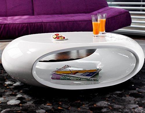 Couch-Tisch Hochglanz weiß oval 100x70 cm aus Fiberglas   Ofu   Moderner Wohnzimmer-Tisch in weiss mit trendiger Optik durch High-Gloss Oberfläche 100cm x 70cm