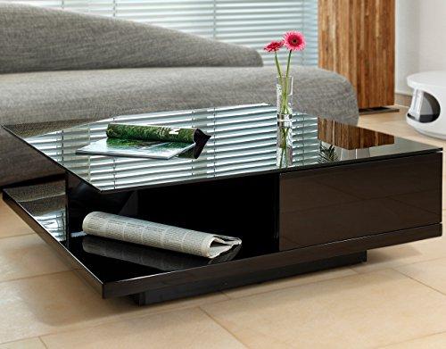 Couch-Tisch schwarz Hochglanz mit Schublade 100x100cm quadratisch   Carla   Moderner Wohnzimmer-Tisch mit Tischplatte aus Kristallglas 100cm x 100cm
