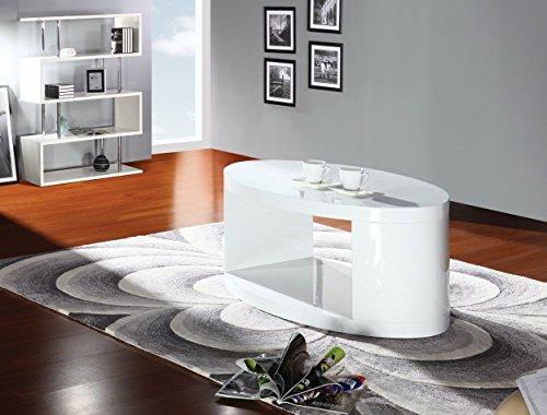 Couchtisch Dakoro 08, Farbe: Weiß Hochglanz - Abmessungen: 41 x 110 x 60 cm (H x B x T)