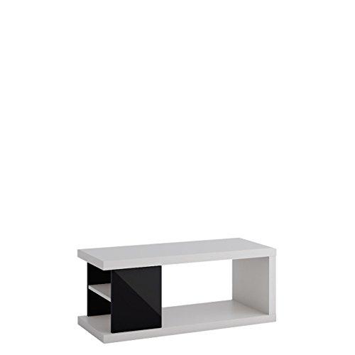 Couchtisch Wohnzimmertisch Lumia 4PC, 110 x 60 x 41 cm, Kaffeetisch, Ablagefach, Sofatisch, Modern Salontisch, Stilvoll, (Weiß / Schwarz Hochglanz)