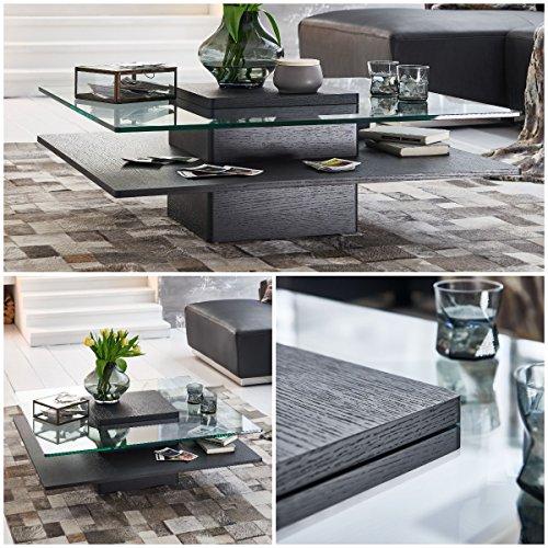 Couchtisch schwarz Echtholzfurnier quadratisch Porto 100x100cm Glastisch Matt
