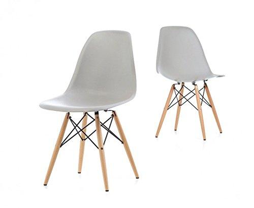 D & S High Qualität Designer Retro-Stil Eiffelturm inspiriert Seite Esszimmerstuhl Lounge Wohnzimmer Büro Stuhl grau