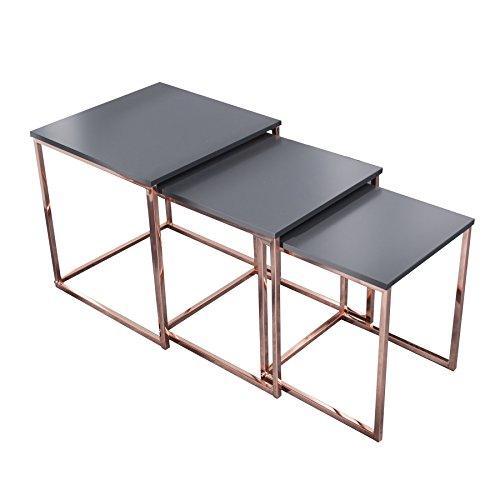 Design Beistelltisch 3er Set FUSION anthrazit kupfer Satztische Couchtisch Tischset Wohnzimmer Couchtische Tische