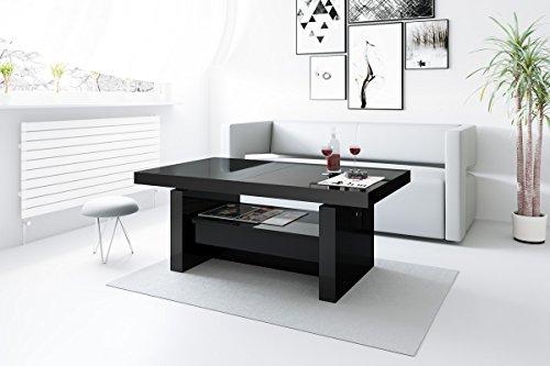 Design Couchtisch H-111 Schwarz Hochglanz Schublade höhenverstellbar ausziehbar Tisch