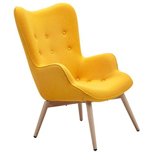 Designer Ohren-Sessel mit Armlehnen aus Webstoff in Gelb | Anjo | Club-Sessel im Retro-Design | Gestell aus Holz in Natur | 68 x 41 x 92 cm