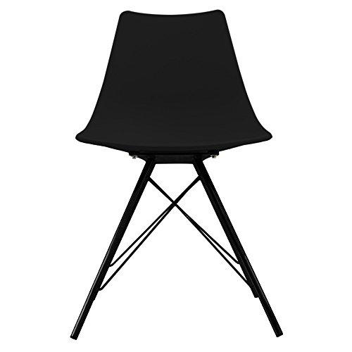 Designer-Stuhl im skandinavischen Retrostil aus Kunststoff, mit Beinen aus Metall, schwarze Beine, Schwarz , H: 82cm W: 47.5cm D: 44cm. SEAT HEIGHT 48CM