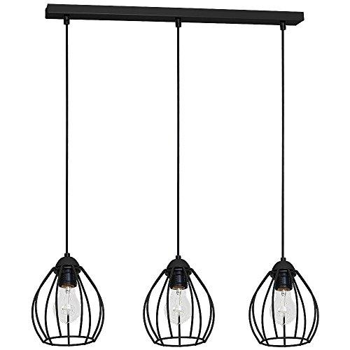Drahtgestell Pendelleuchte (Tiefe bis: 0,9m, 3-flammig, Industrie, in Schwarz, bauchige Schirmform) Küchenleuchte Industrieleuchte Esszimmerhängelampe Hängeleuchte Hängelampe Pendellampe