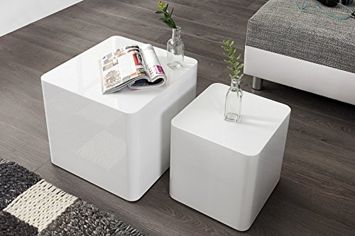 DuNord Design Beistelltisch Couchtisch MONOLIT hochglanz weiss 2er Set Design Tisch Set