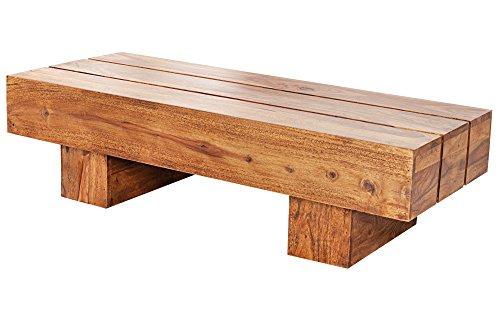 DuNord Design Couchtisch Beistelltisch Sheesham Massiv Holz natur 100cm JAKARTA Design Holztisch