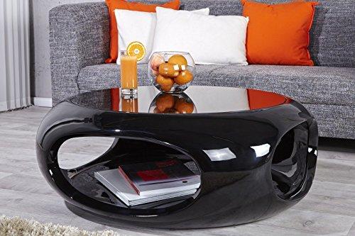 DuNord Design Couchtisch Sofatisch TORSION schwarz hochglanz Glasfaser Retro Design Lounge