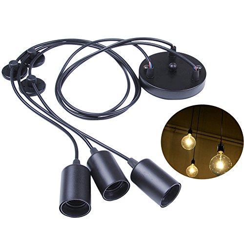 E27 DIY retro Industrie-Stil höhenverstellbar Kronleuchter Pendelleuchten Hängelampe(3-Flammig,1.2M,Glühbirne nicht inbegriffen)