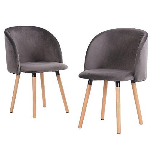 EGGREE 2er Set Vintager Retro Stuhl Sessel Polstersessel Massivholz Bein Samt Lounge Sessel Clubsessel Fernsehsessel (Grau)