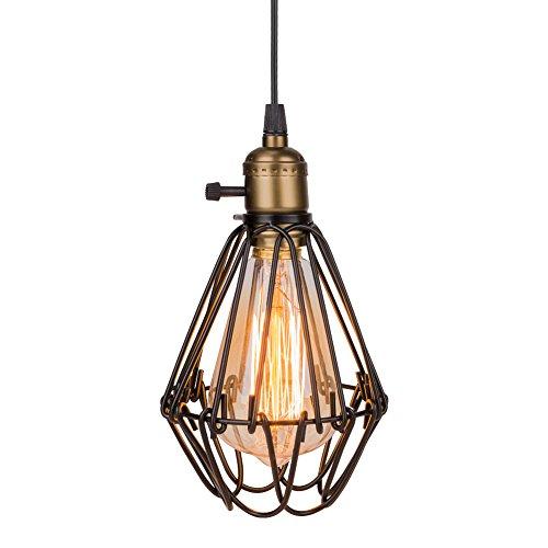 Eletorot Vintage Metall Pendelleuchte Hängeleuchte Hängelampe Lampengestell in Vogelkäfiger Form für Loftwohnung, Bar, Küchen, Hausdeko
