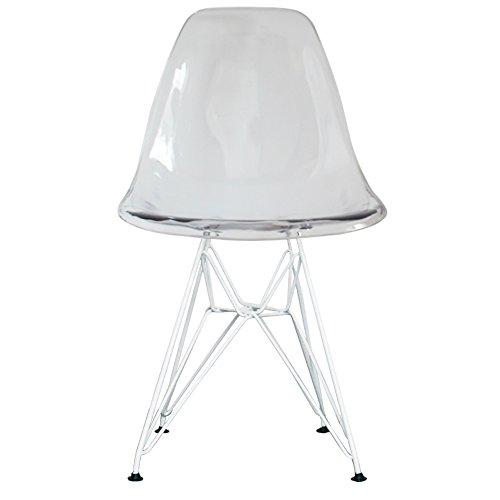 Essstuhl, Kunststoff mit Eiffelturm-inspirierten Beinen, Retro, skandinavischer Stil, DSR, Beine weiß pulverbeschichtet, farblos, H: 82cm W: 46cm D: 50cm. Seat Height: 44cm