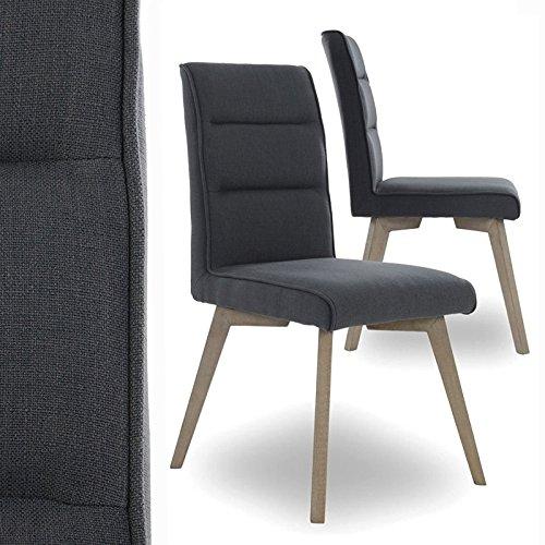 Esszimmerstühle 2er Set Küchenstühle - Stühle mit Polsterung Retro Design Stoff (grau)