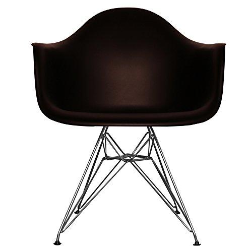 Esszimmerstuhl aus Kunststoffsitz mit Metallbeinen schwarz