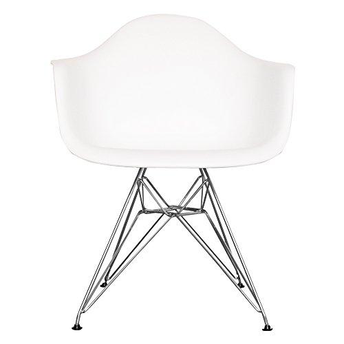 Esszimmerstuhl aus Kunststoffsitz mit Metallbeinen weiß