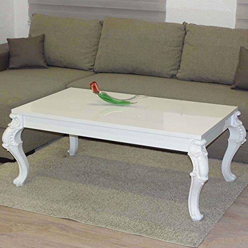 Euro Tische Couchtisch 100 x 60 x 50 cm, Weiß Hochglanz Lack Kratzfest, Wohnzimmer-Tisch Beistelltisch, Orientalisch Barock Vintage Antik, Geschwungene und verzierte Tischbeine, C163-100x60