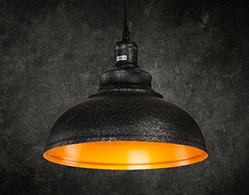 FLTRADE Hängeleuchte Industrielampe Metall Vintage Lampenschirm LED Lampen Hängelampe Hängeleuchte Deckenleuchte Pendelleuchte Edison Industriebeleuchtung Eisen Kürbisflasche Pendelleuchte Lampe Φ 30cm,Schwarz/Grau