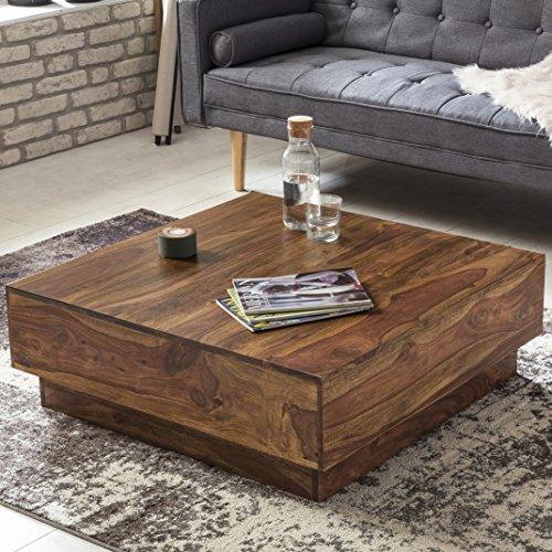 FineBuy Couchtisch CUBE Sheesham Massiv Holz 90 x 90 x 30 cm Dunkel Braun Quadratisch   Design Wohnzimmer Tisch aus Palisander Rosenholz   Sofatisch Niedrig Flach  Stubentisch Modern