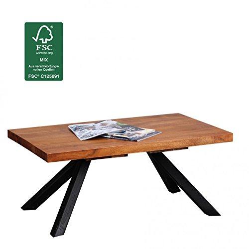 FineBuy Couchtisch Massiv-Holz Sheesham 90 cm breit Wohnzimmer-Tisch Design dunkel-braun natur Landhaus-Stil Beistelltisch modern Wohnzimmermöbel Unikat Massivholzmöbel rechteckig Massivholztisch