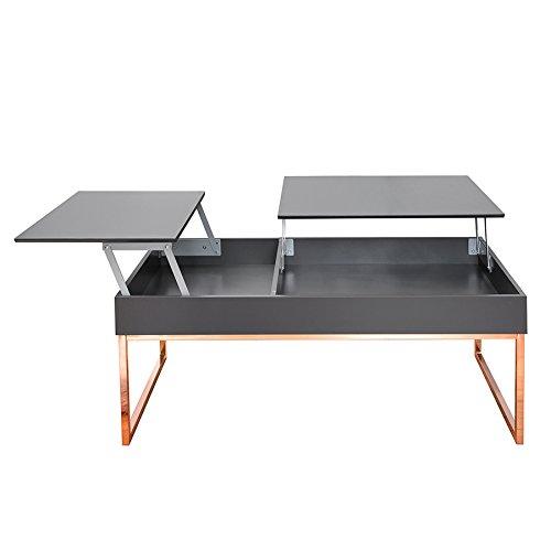 Funktionaler Design Couchtisch FABRIC anthrazit kupfer ausklappbar Wohnzimmertisch mit klappbaren Tischplatten