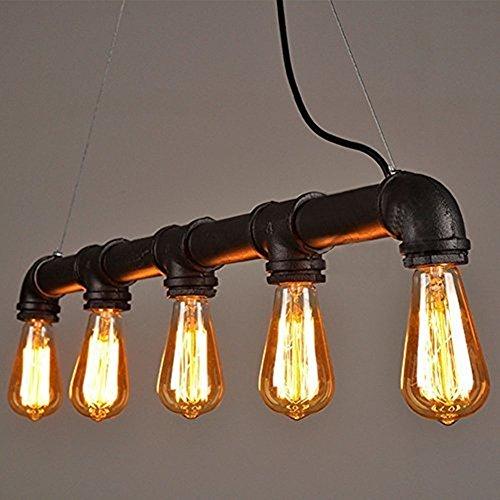 Glighone Wasserrohr Rohr Lampe Vintage Pendelleuchte Schwarz Hängelampe 5 Lichter E27 Sockel Kupfer-Finish